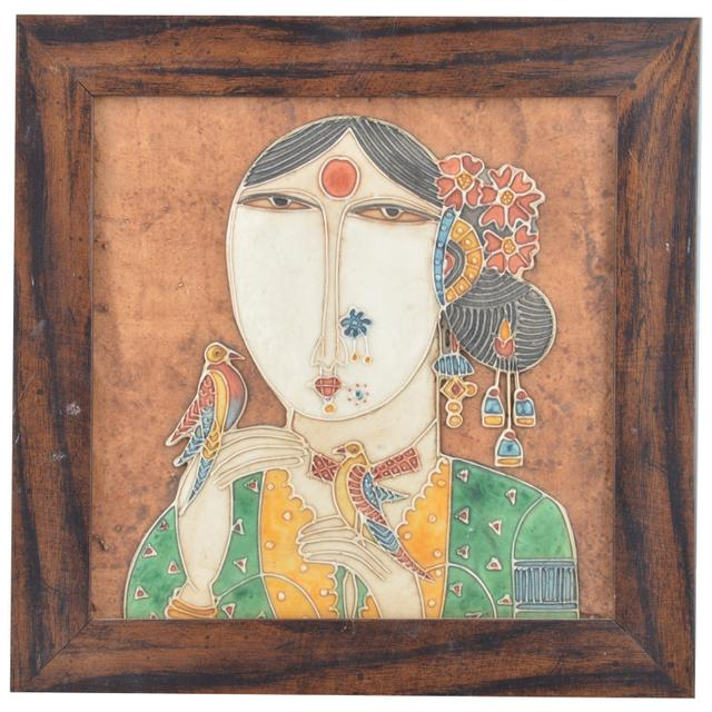 Mangala Art Gurjari Mural Work, Size:18x18 inches, Color:Multi