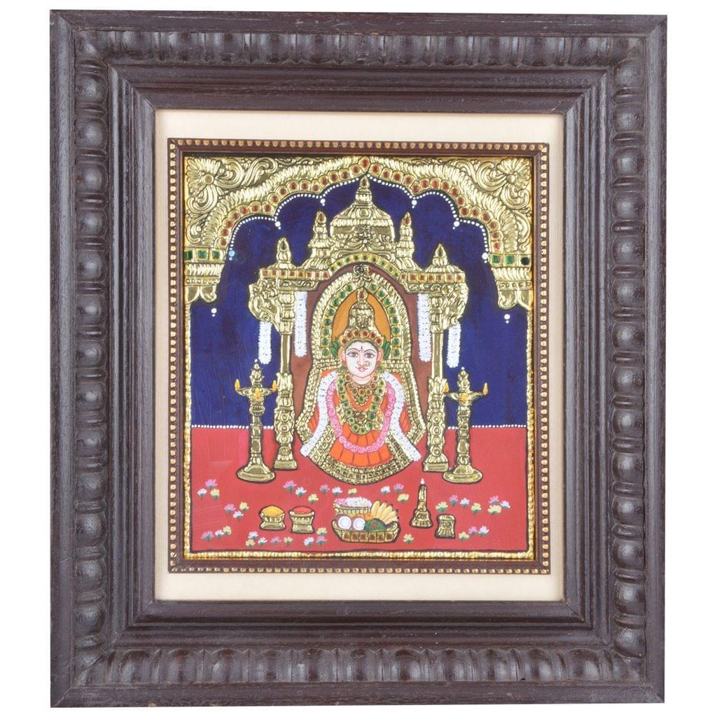 "Mangala Art Vara Lakshmi  Indian Traditional Tamil Nadu Culture Tanjore Acrylic Base Painting -19x16cms (11.5""x13.5"")"