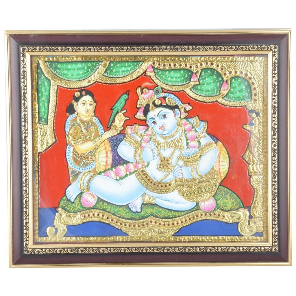 Mangala Art Pot Krishna Tanjore Paintings, Size:15x12inches, Color:Multi