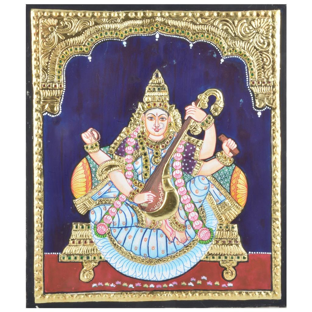 Mangala Art Saraswathi Tanjore Paintings Without Frame, Size:10x12 inches, Color:Multi