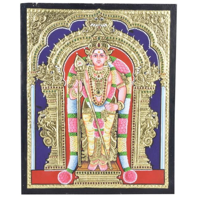 Mangala Art Murugan Tanjore Paintings Without Frame, Size:15x12 inches, Color:Multi