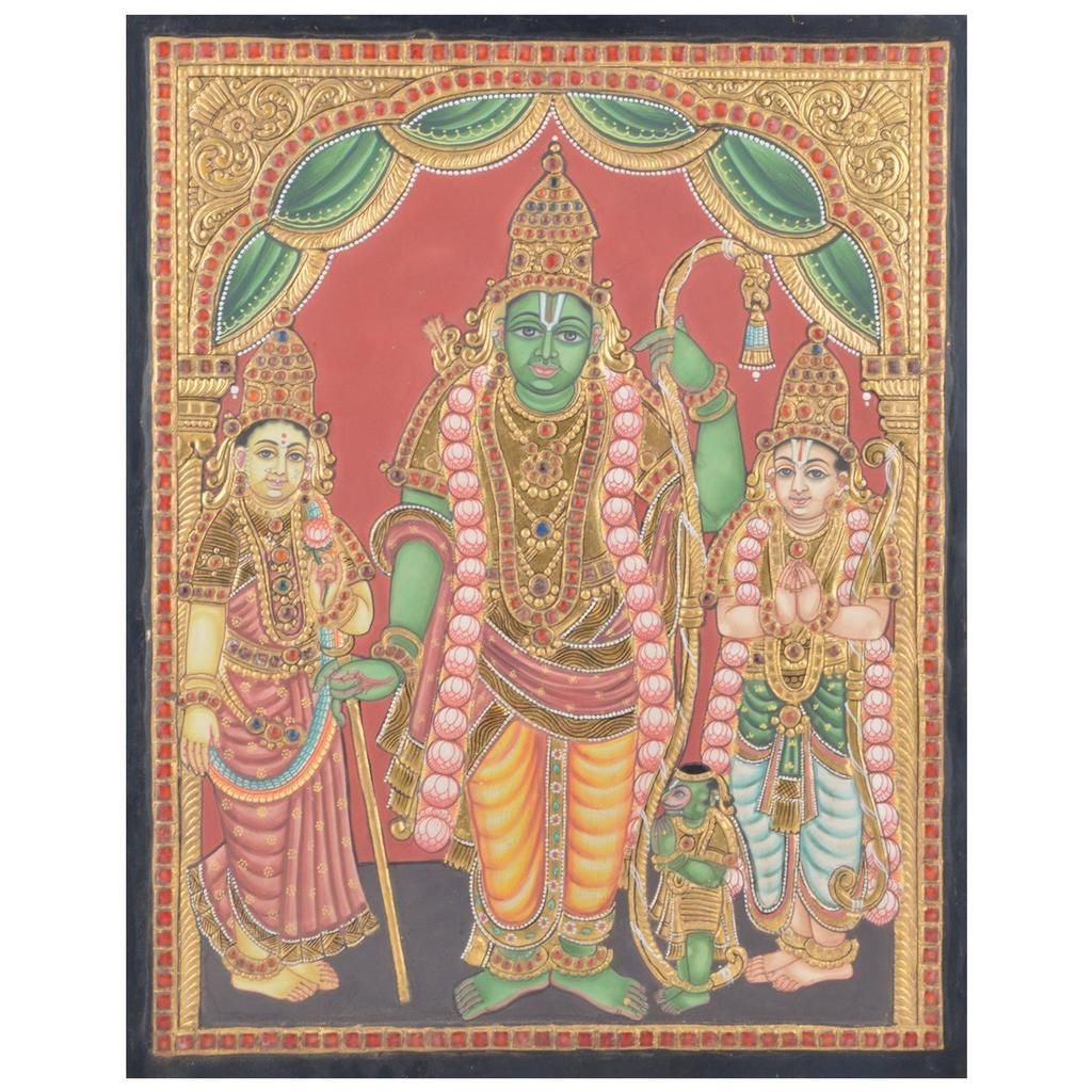 """Mangala Art Ramar Indian Traditional Tamil Nadu Culture Tanjore Without Frame Painting 38x30cms (15""""x12"""")"""