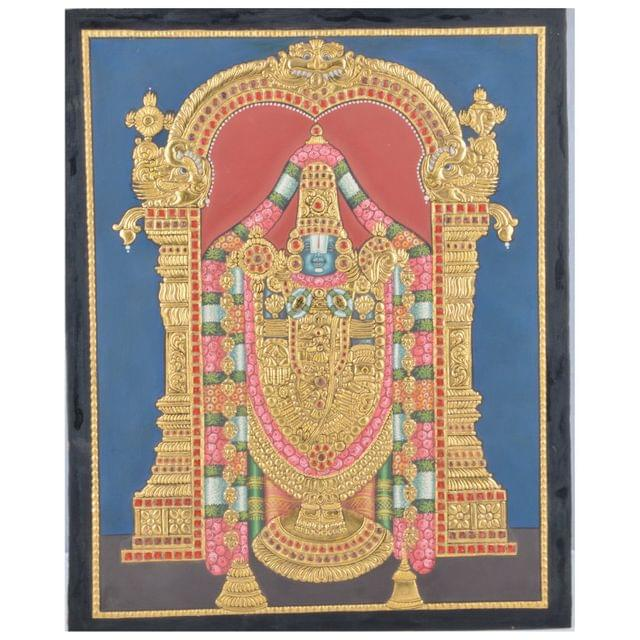 """Mangala Art Balaji Indian Traditional Tamil Nadu Culture Tanjore Without Frame Painting - 38x30cms (15""""x12"""")"""