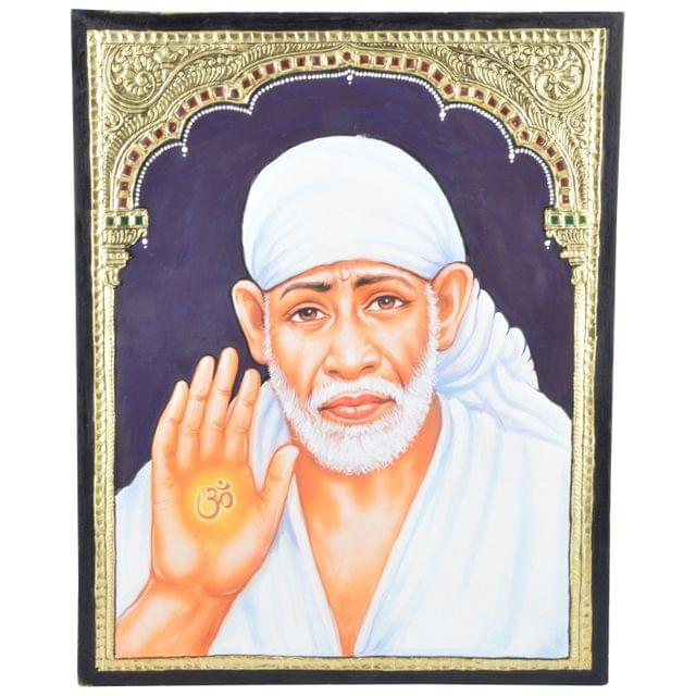 """Mangala Art Shirdi Baba Indian Traditional Tamil Nadu Culture Tanjore Painting Without Frame - 38x30cms (15""""x12"""")"""