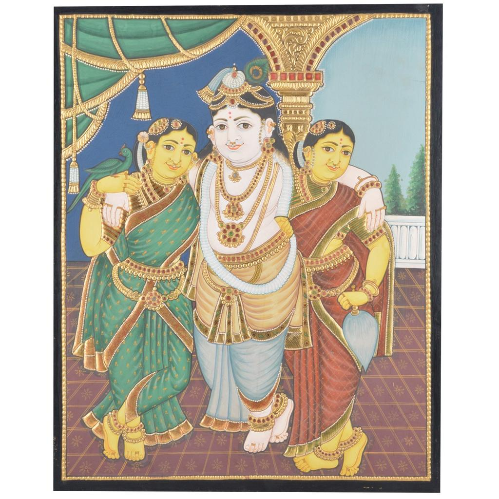 Mangala Art Bama Rukmani Krishna Tanjore Paintings Without Frame, Size:15x12 inches, Color:Multi