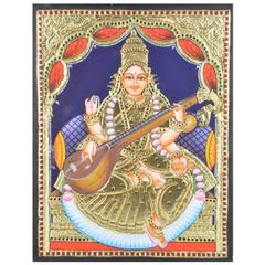 Mangala Art Saraswathi Tanjore Paintings Without Frame, Size:18x14 inches, Color:Multi