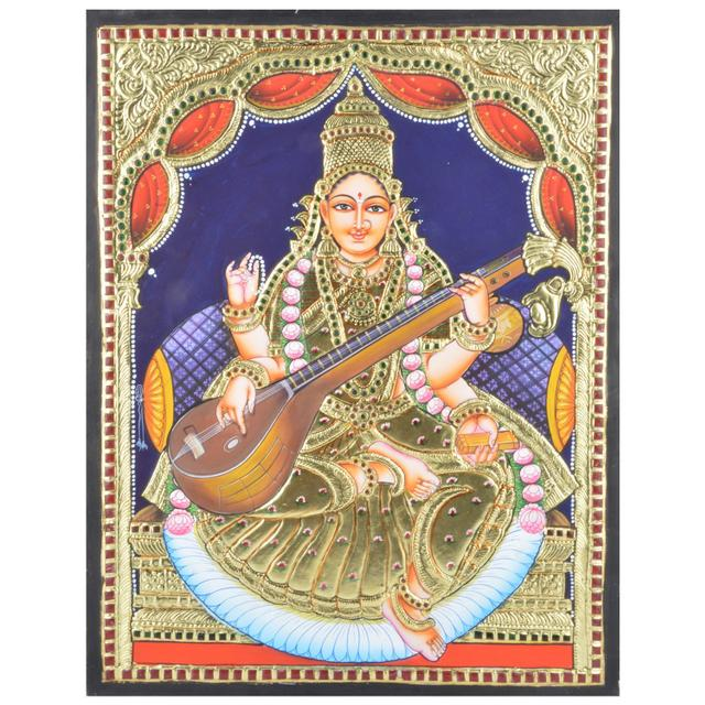 "Mangala Art Saraswathi Indian Traditional Tamil Nadu Culture Tanjore Without Frame Painting - 46x36cms (18""x14"")"