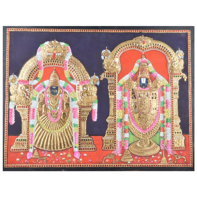 Mangala Art Thayar Balaji Tanjore Paintings, Size:15x12inches, Color:Multi