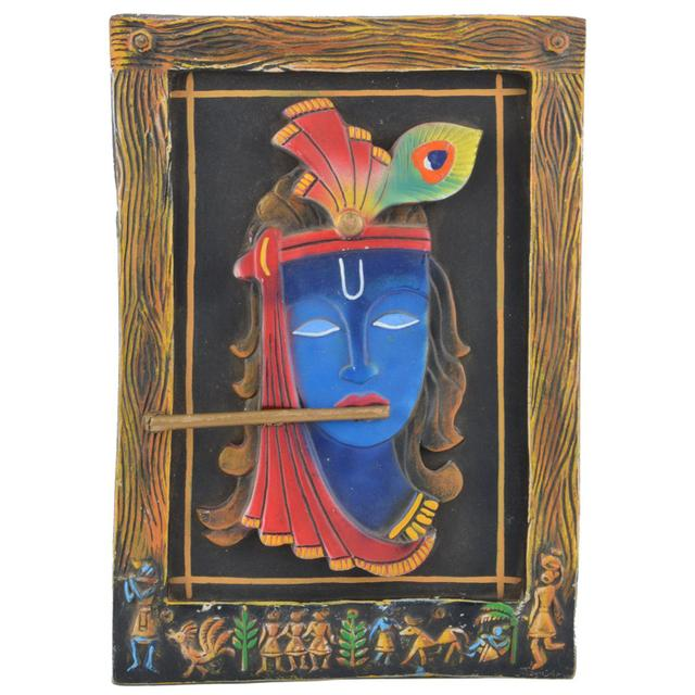 Mangala Art Flute Krishna M-seal Mural Artwork, Size:8x10 inches, Color:Multi