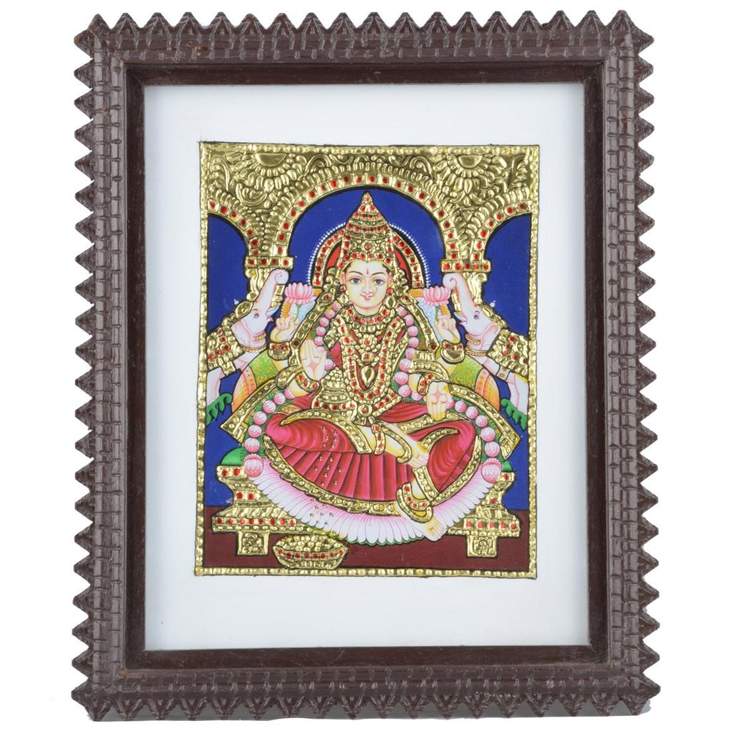 Mangala Art Gaja Lakshmi Tanjore Artwork with Acrylic Base, Size:9.5x7.5 inches, Color:Multi
