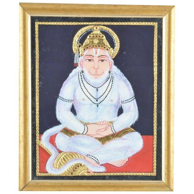 "Mangala Art Hanuman Indian Traditional Tamil Nadu Culture Tanjore Painting - 23x28cms (9""x11"")"