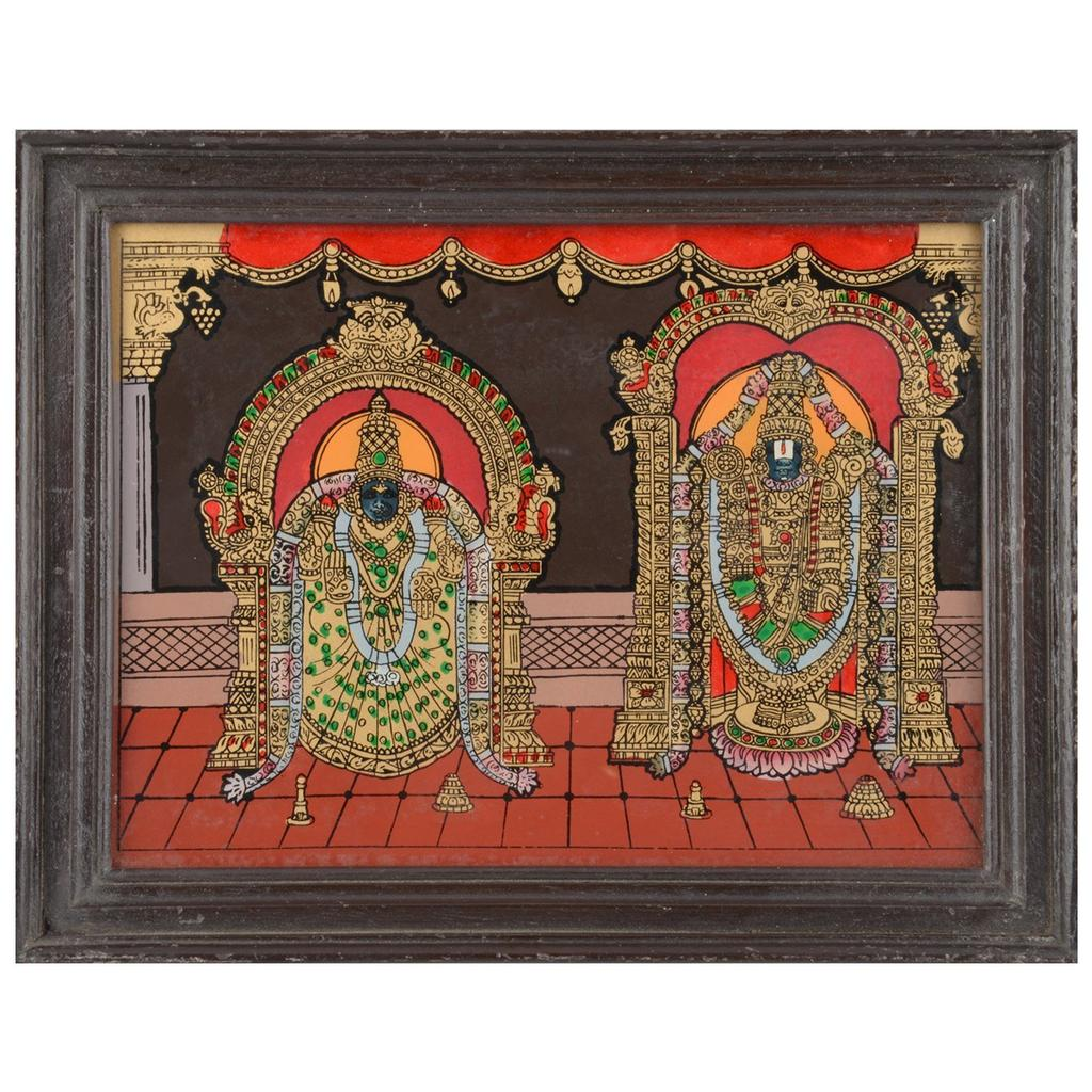 Mangala Art Thayar Perumal Tanjore Glass Painting, Size:9x7inches, Color:Multi