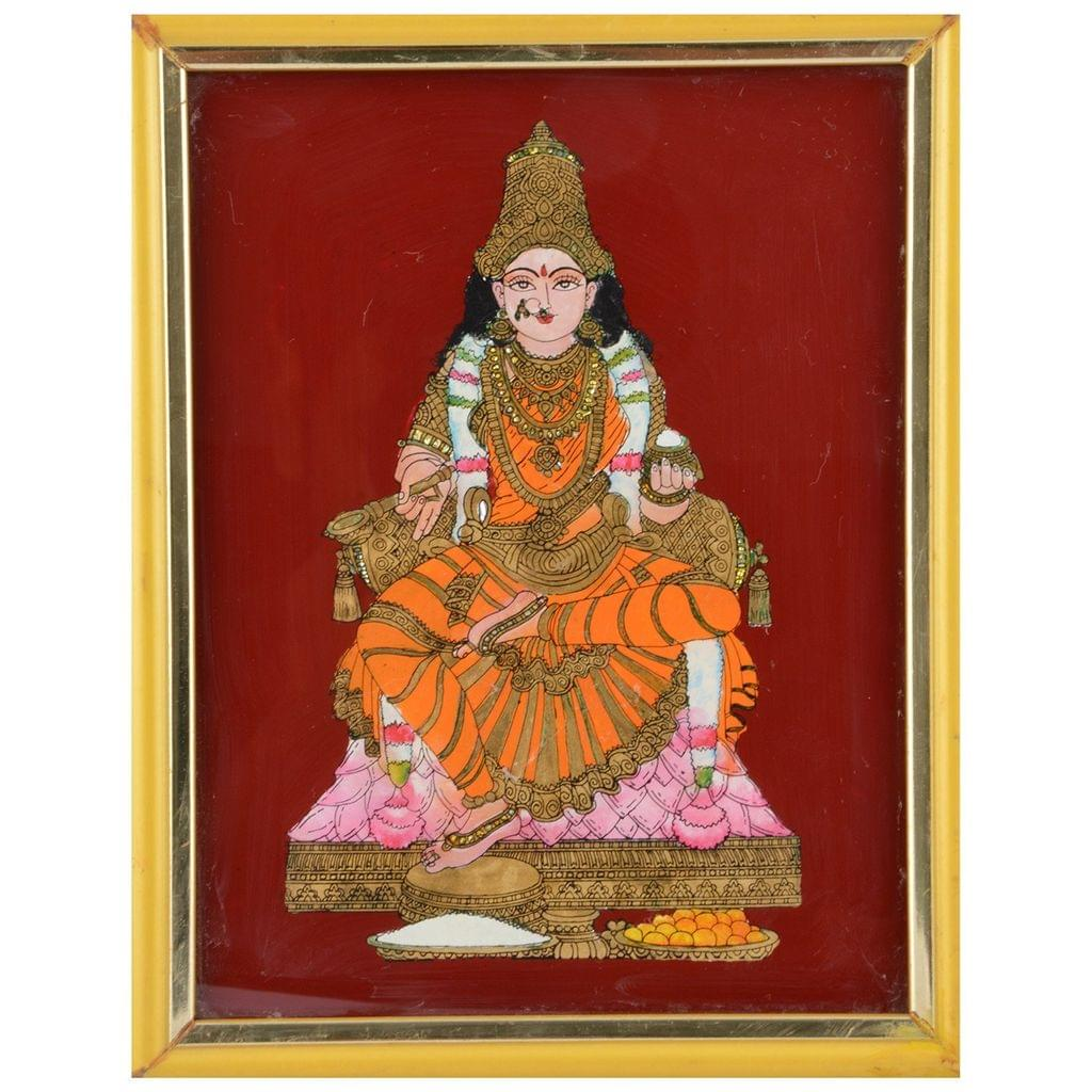 Mangala Art Annapoorni Tanjore Glass Painting, Size:9x11inches, Color:Multi