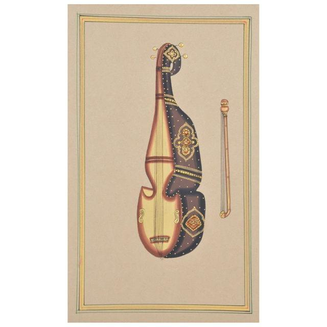 """Mangala Art Musical Violin Paper Gold Paint Tanjore Artwork Without Frame Wall Decor 18x28cms (7""""x11"""")"""