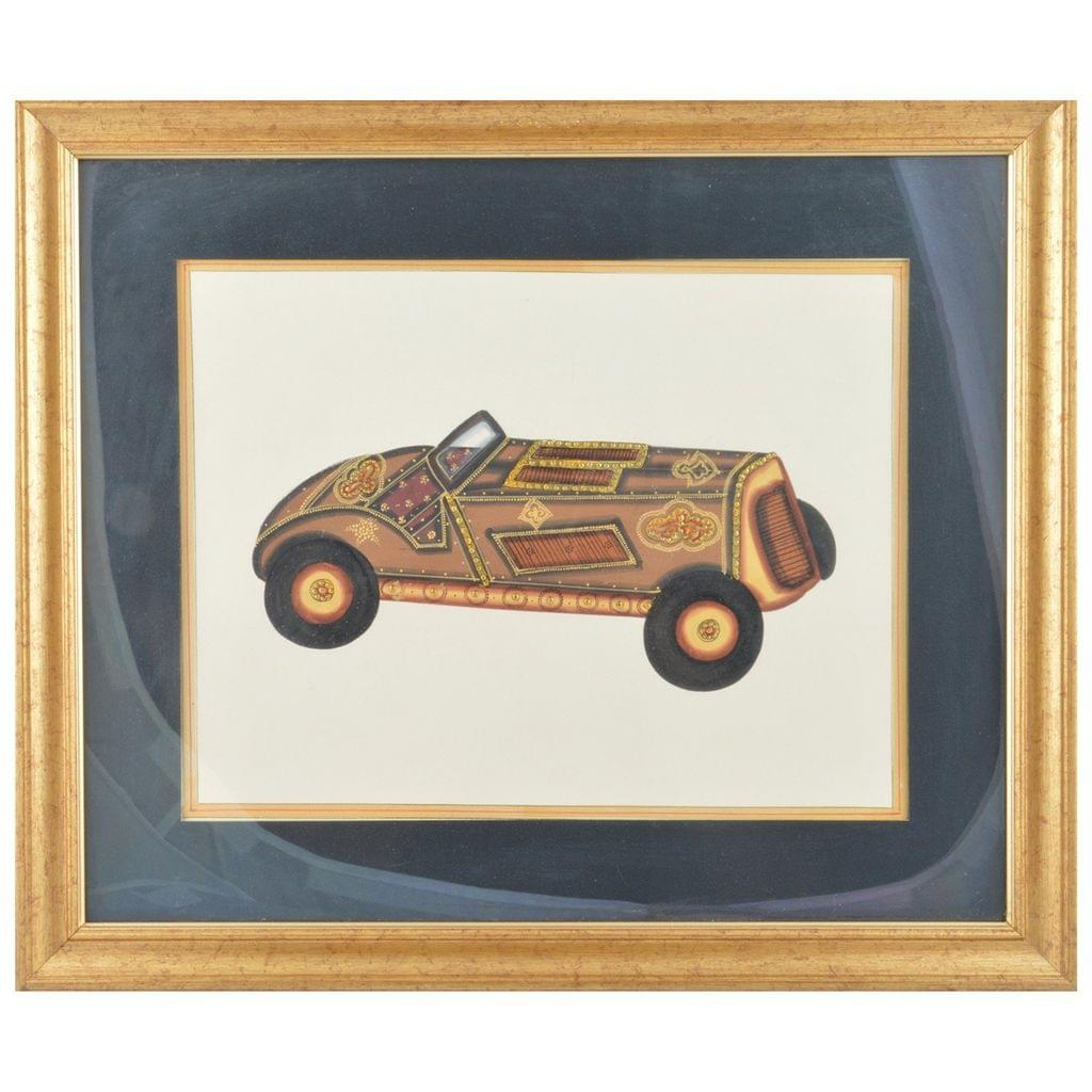 Mangala Art Jeep Paper Gold Paint Tanjore Artwork, Size:14.5x12 inches, Color:Multi