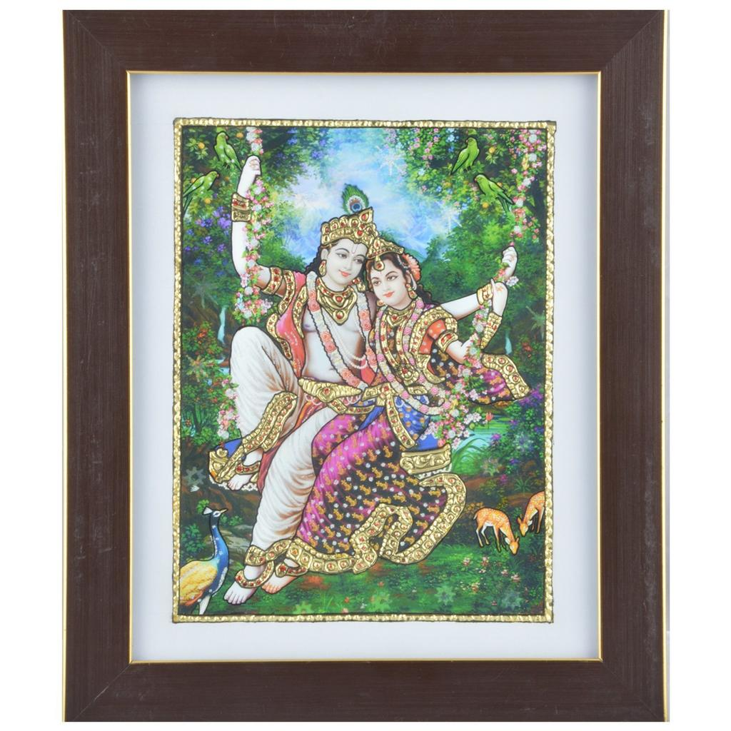 Mangala Art Oonjal Krishna Tanjore Artwork with Acrylic Base, Size:10x12inches, Color:Multi