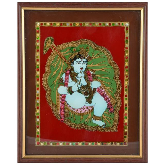 Mangala Art Aalilai Krishna Tanjore Glass Painting, Size:9x11inches, Color:Multi