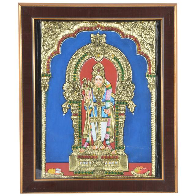 Mangala Art Raja Alangara Murugan Tanjore Artwork with Acrylic Base, Size:8x10inches, Color:Multi