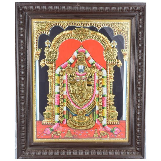 Mangala Art Perumal Tanjore Paintings, Size:24x20inches, Color:Multi