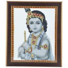 Mangala Art Flute Krishna Tanjore Artwork with Acrylic Base, Size:10x12inches, Color:Multi