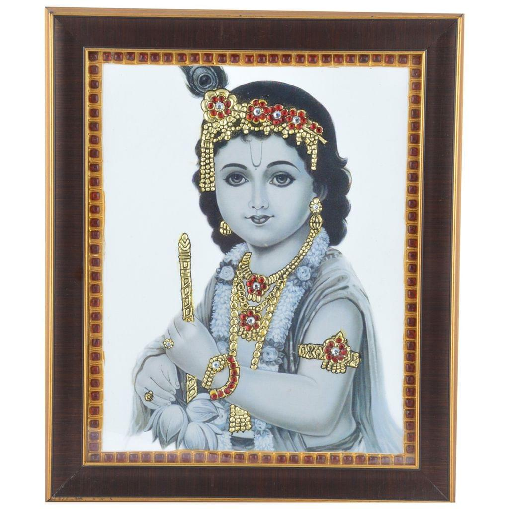 Mangala Art Flute Krishna Tanjore Artwork with Acrylic Base, Size:8x10inches, Color:Multi