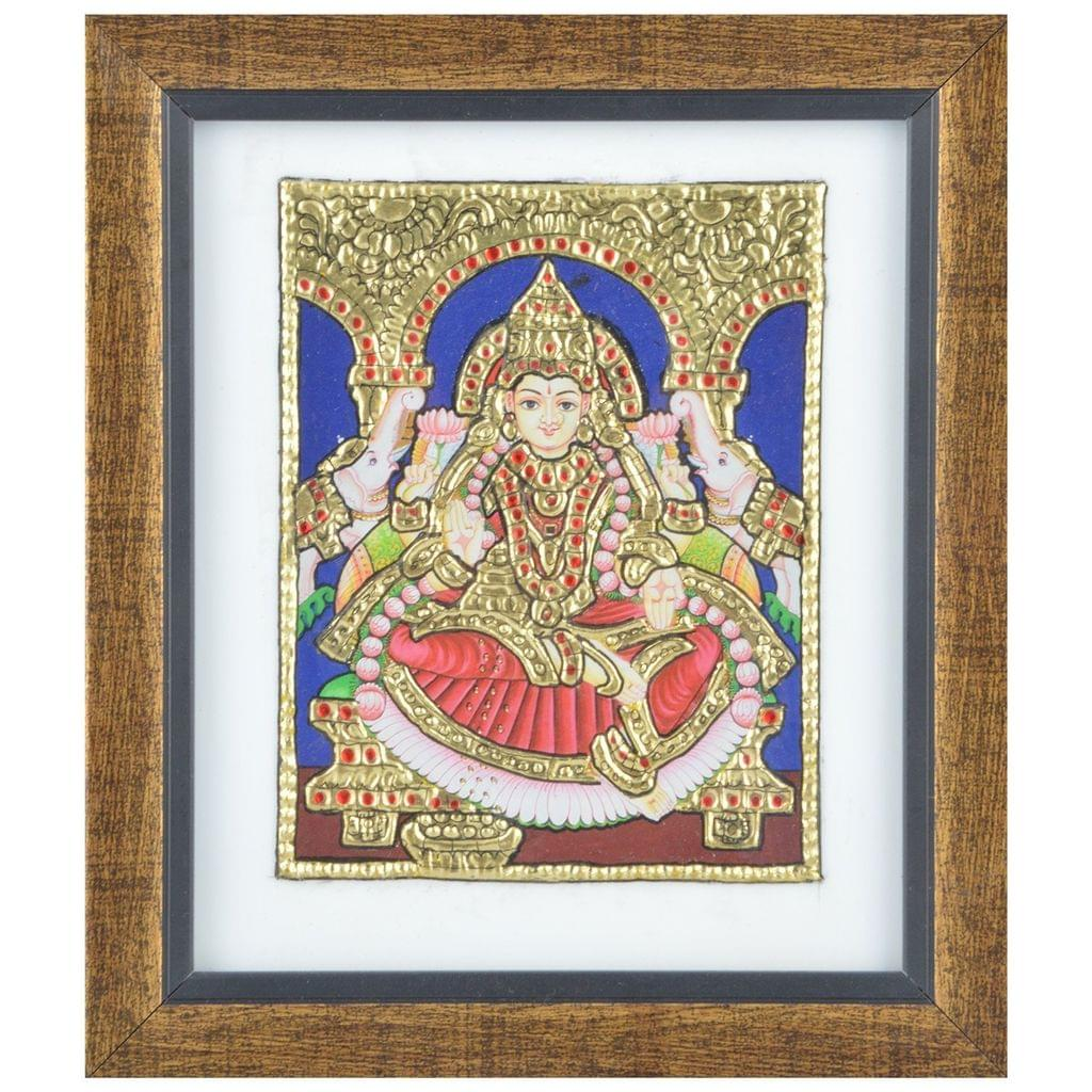 Mangala Art Gaja Lakshmi Tanjore Artwork with Acrylic Base, Size:7.5x6.5inches, Color:Multi