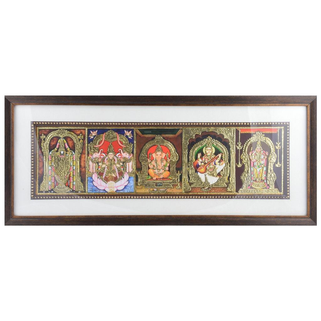 Mangala Art 5 Gods Tanjore Painting, Size:22x9 inches, Color:Multi