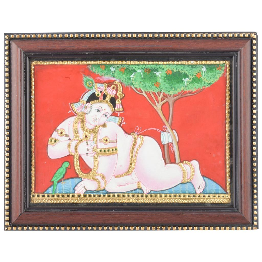 "Mangala Art Baby Krishna Indian Traditional Tamil Nadu Culture Tanjore Painting - 22x16cms (8.5""x6.5"")"