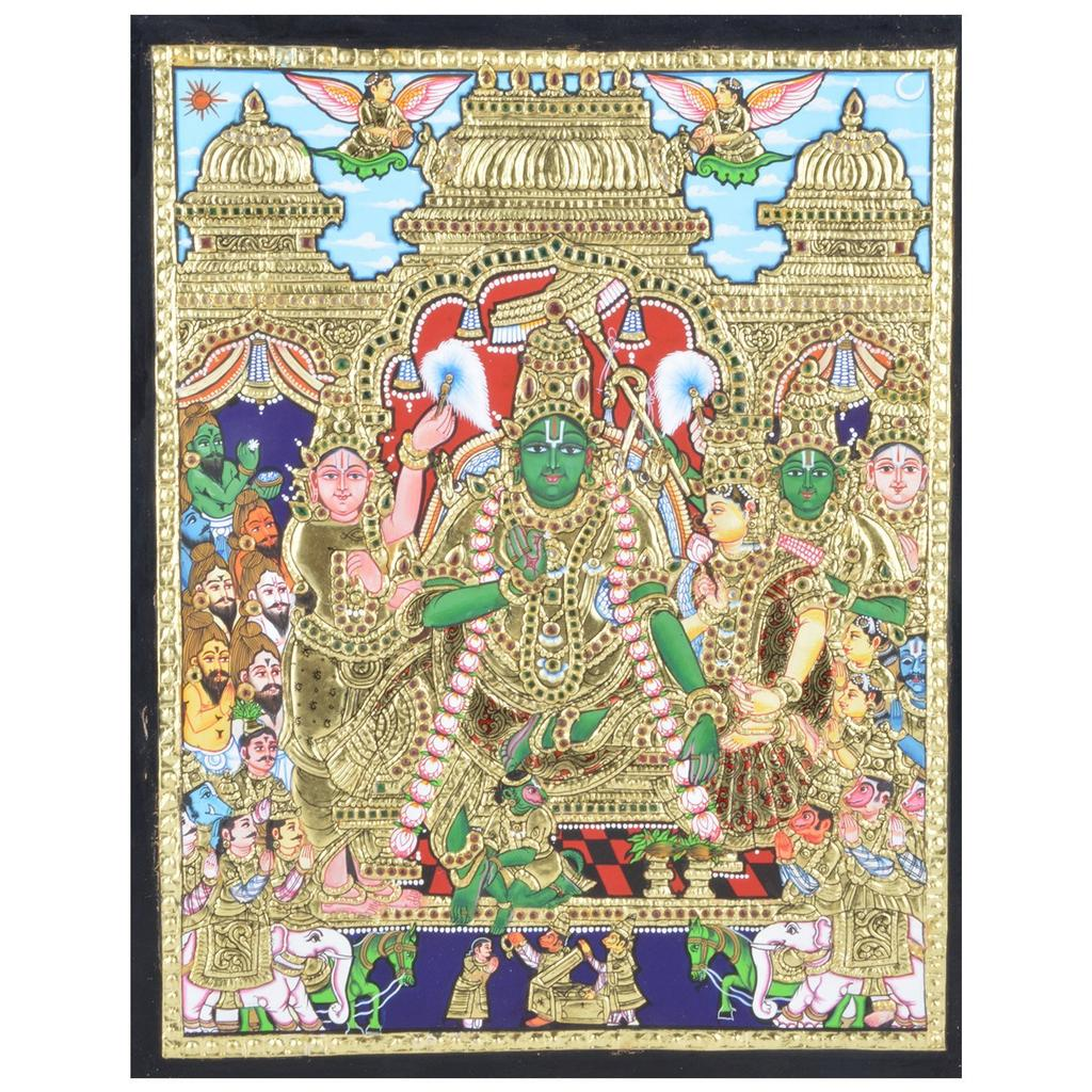 Mangala Art Ramar Pattabhishekam Tanjore Paintings Without Frame, Size:15x12 inches, Color:Multi