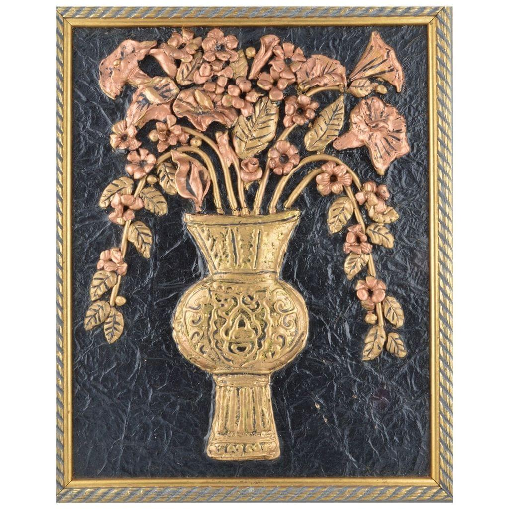 Mangala Art Flower Vase Mural Artwork, Size:16x14 inches, Color:Multi