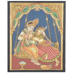Mangala Art Oonjal Krishna Tanjore Paintings Without Frame, Size:15x12 inches, Color:Multi