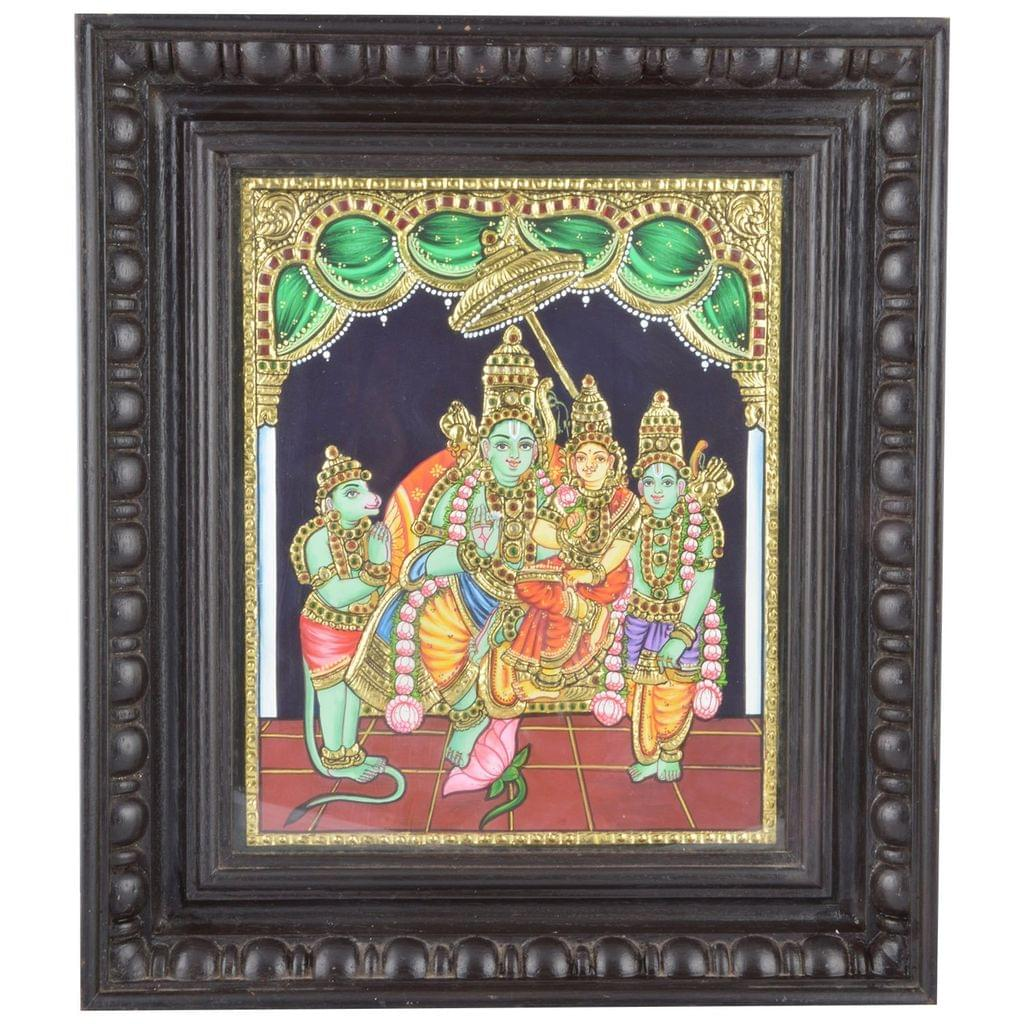 Mangala Art Ramar Pattabhishekam Tanjore Paintings, Size:15.5x13 inches, Color:Multi