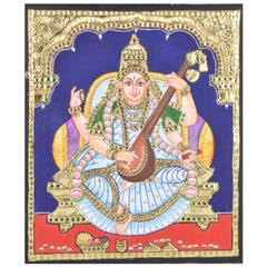 Mangala Art Saraswathi Tanjore Paintings Without Frame, Size:15x12 inches, Color:Multi