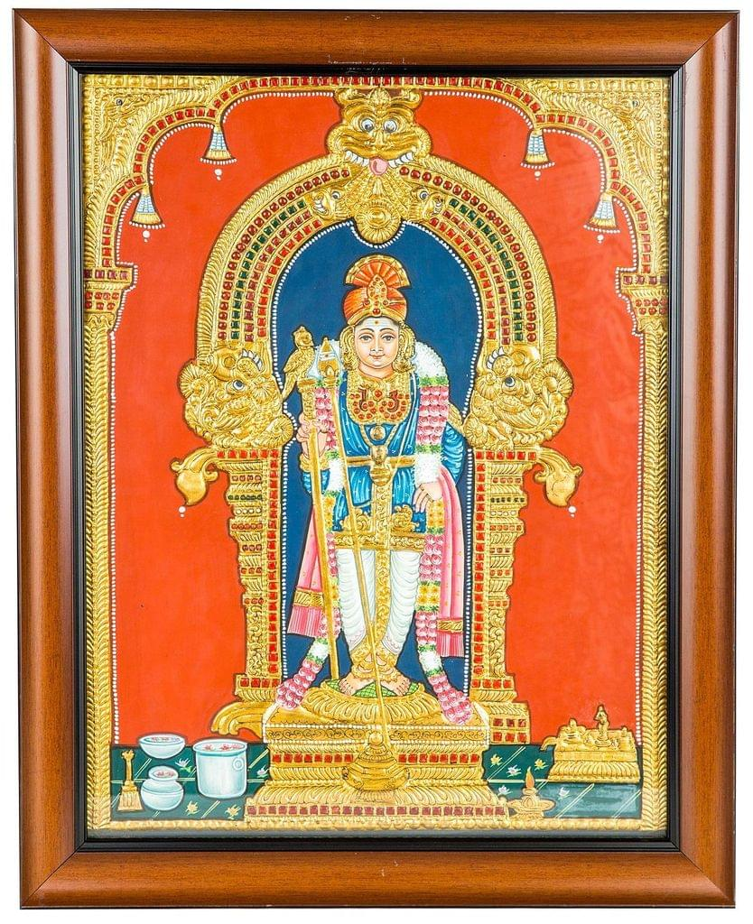 Mangala Art Murugan Tanjore Paintings, Size:16x14 inches, Color:Multi