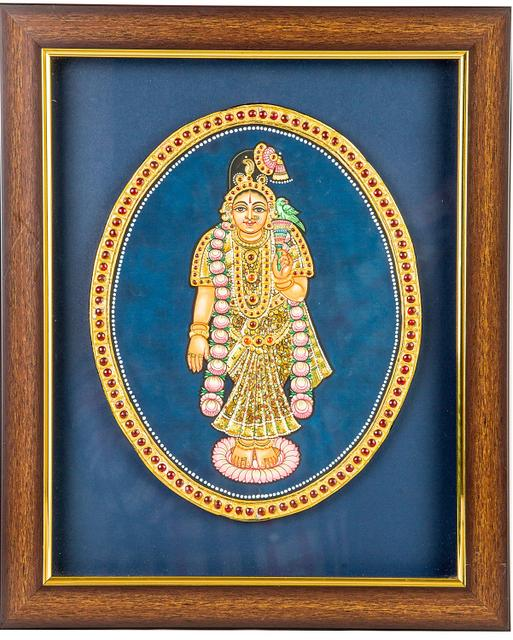 "Mangala Art Andal Indian Traditional Tamil Nadu Culture Tanjore Painting - 25x30cms (10""x12"")"