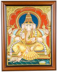 Mangala Art Ganesha Tanjore Paintings, Size:16x14 inches, Color:Multi