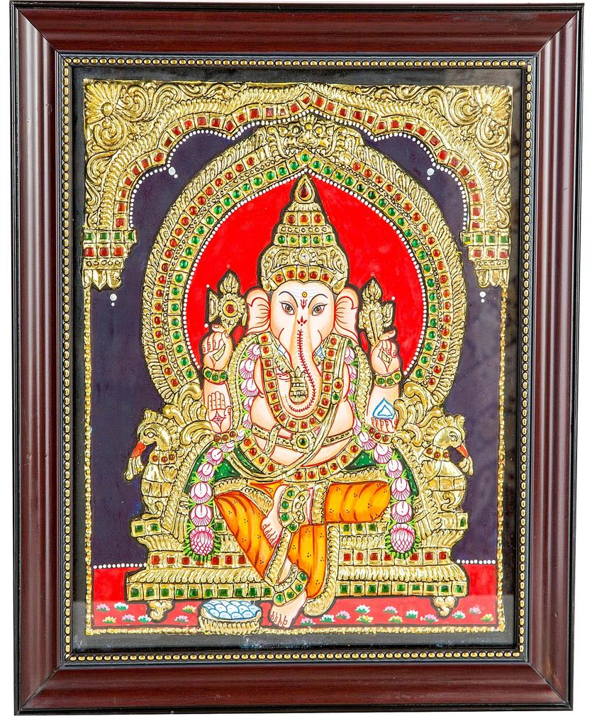 Mangala Art Ganesha Tanjore Paintings, Size:10x12 inches, Color:Multi