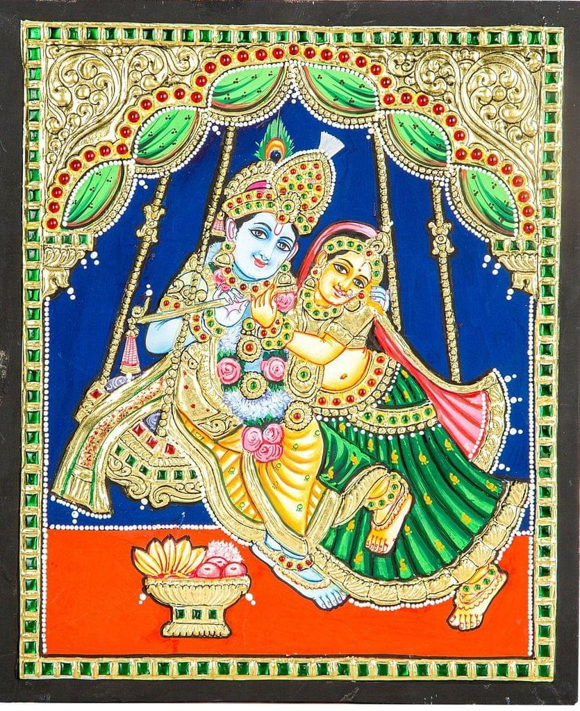 Mangala Art Radhakrishna Tanjore Paintings, Size:10x12 inches, Color:Multi
