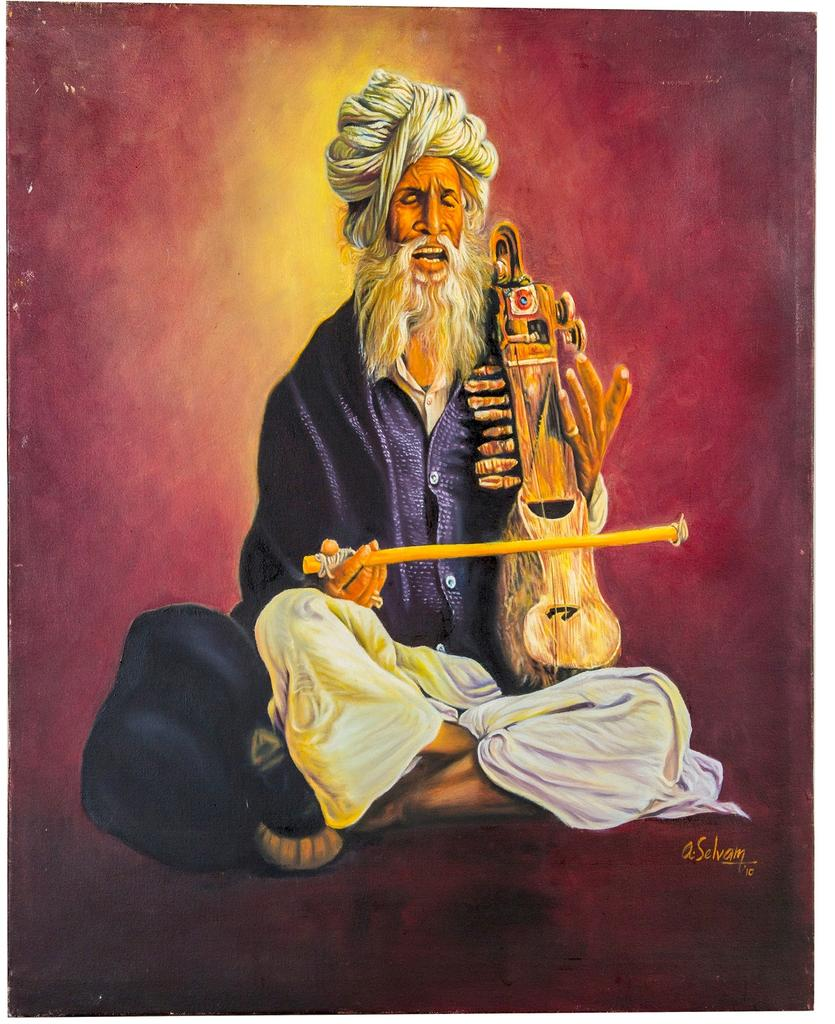 Mangala Art Musician Canvas Oil Paintings Without Frame, Size:24x24, Colour:Multi