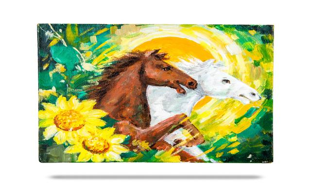 Mangala Art Horse Canvas Oil Paintings Without Frame, Size:8x10, Colour:Multi