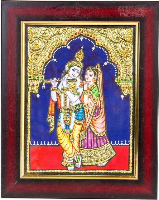 Mangala Art Radhakrishna Tanjore Paintings, Size:8x6 inches, Color:Multi
