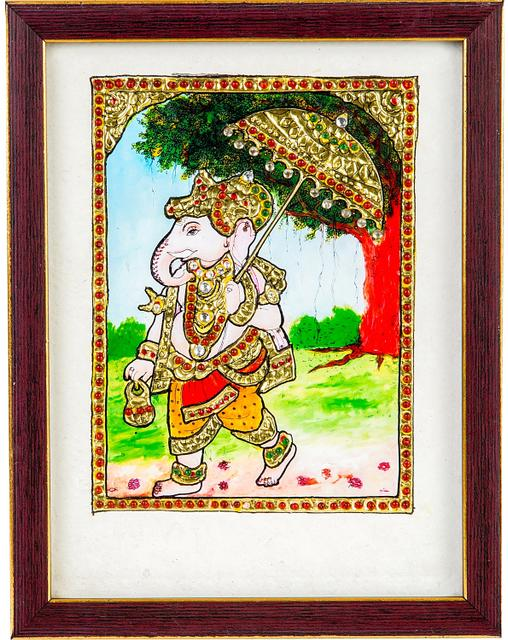 Mangala Art Umberla ganesha Tanjore Artwork with Acrylic Base, Size:8x6inches, Color:Multi