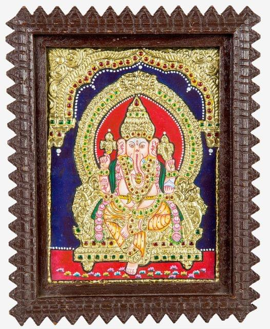 Mangala Art Ganesha Tanjore Paintings, Size:8x6 inches, Color:Multi