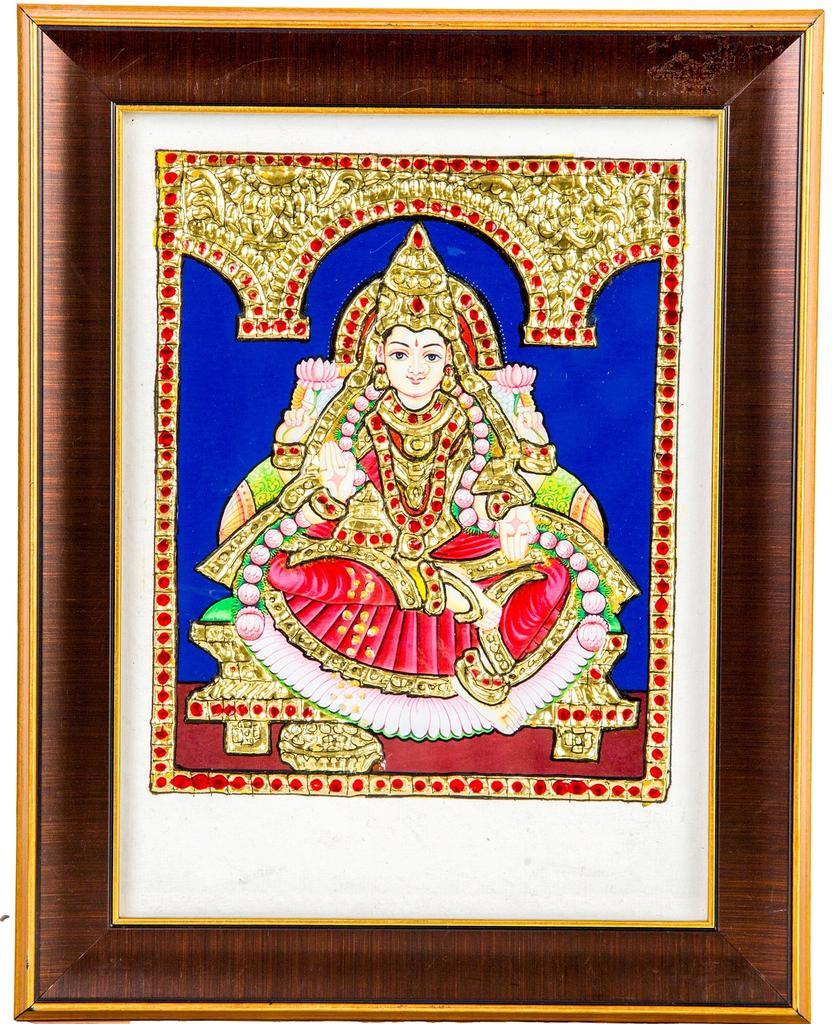 Mangala Art Lakshmi Tanjore Artwork with Acrylic Base, Size:8x6inches, Color:Multi
