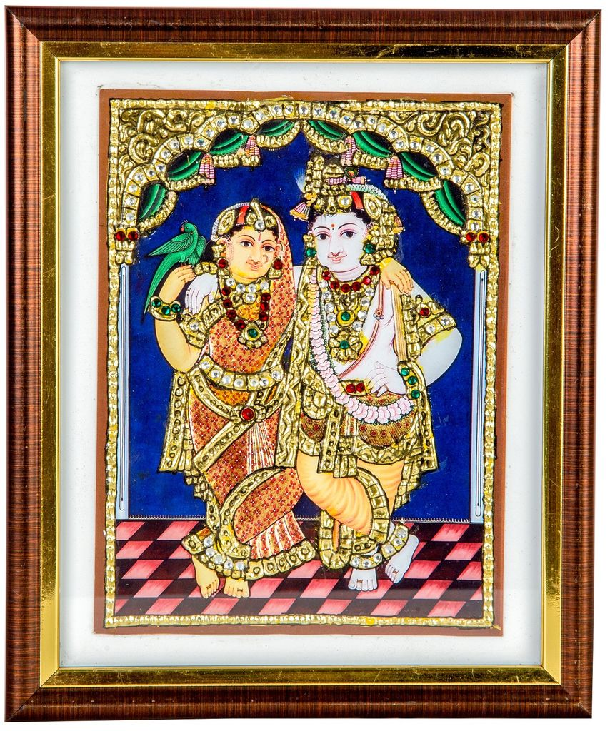 "Mangala Art Radhakrishna Indian Traditional Tamil Nadu Culture Tanjore Acrylic Base Painting - 20x15cms (8""x6"")"