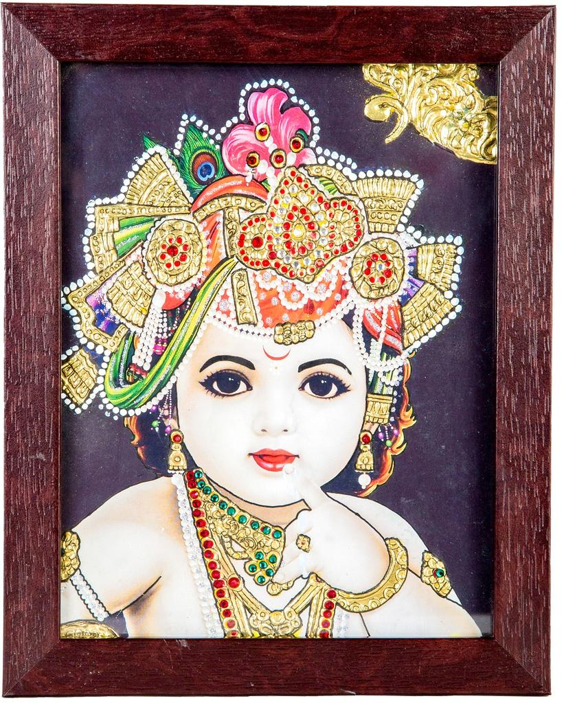 "Mangala Art Baby Krishna Indian Traditional Tamil Nadu Culture Tanjore Acrylic Base Painting - 20x15cms (8""x6"")"