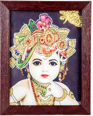 Mangala Art Baby Krishna Tanjore Artwork with Acrylic Base, Size:8x6inches, Color:Multi