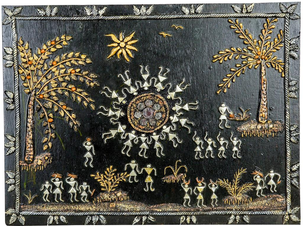 Mangala Art People Warli Artwork Wall Hanging, Size:22x18 inches, Color:Multi