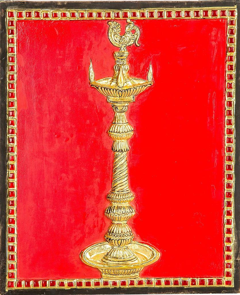 Mangala Art Kuthuvizhaku - Fx Embossing Tanjore Paintings, Size:10x12inches, Color:Multi