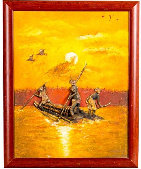 Mangala Art Boat Mural Work, Size:13x16, Color:Multi